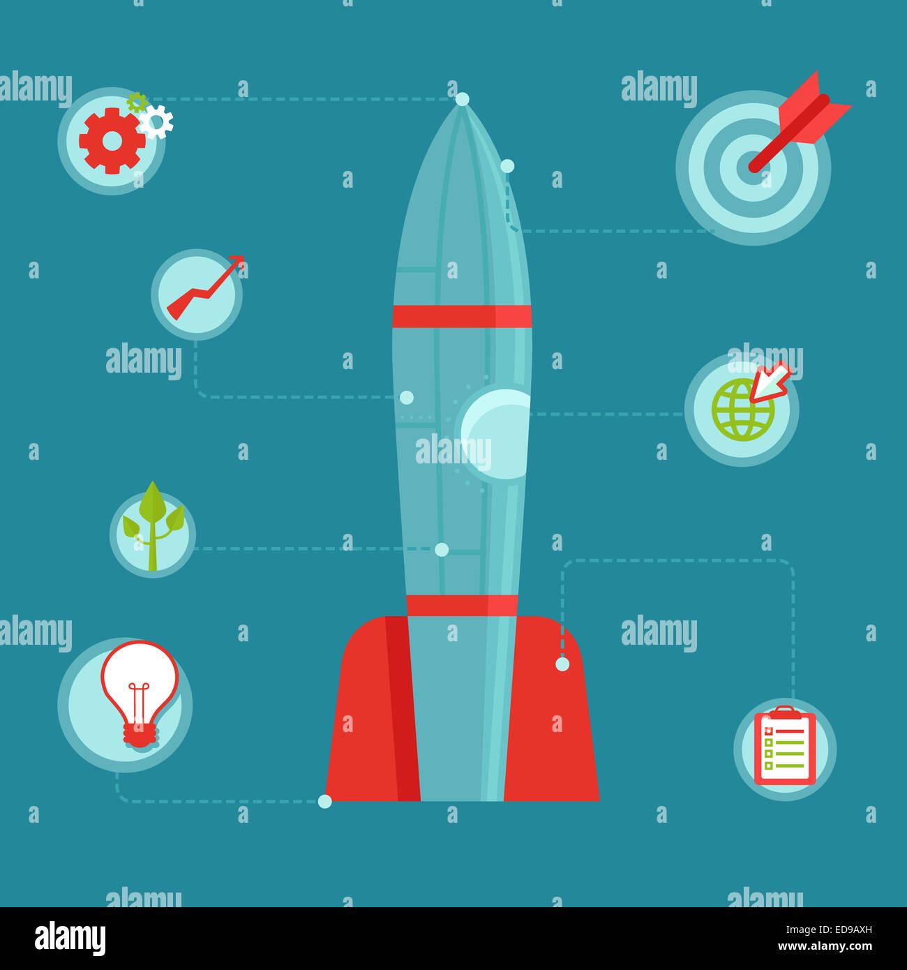 Avviare il concetto in stile appartamento - infografico elementi di design e le icone - razzo spaziale e strategia Immagini Stock