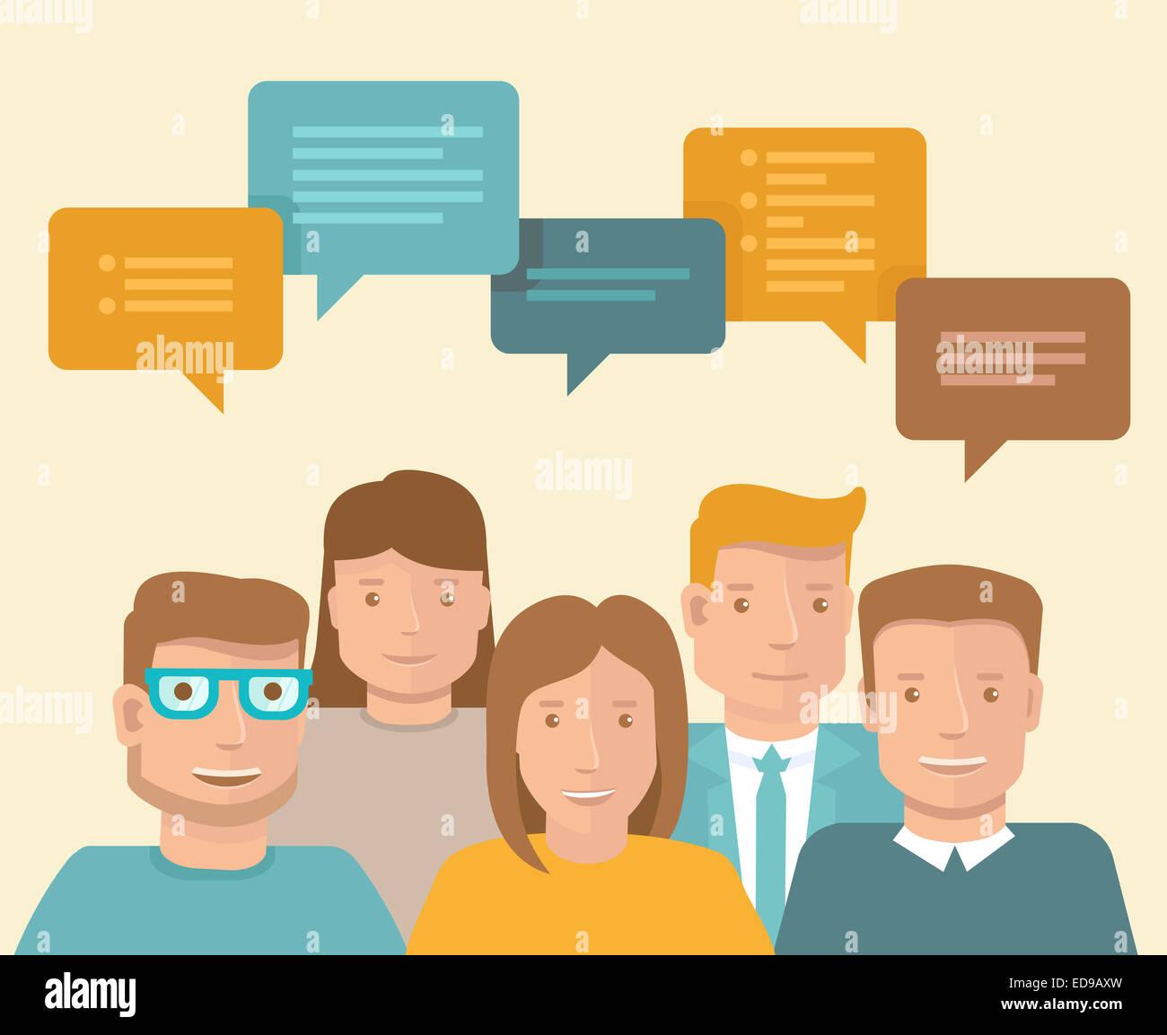 Concetto di piatto - il lavoro di squadra e di brainstorming - Icone di business Immagini Stock