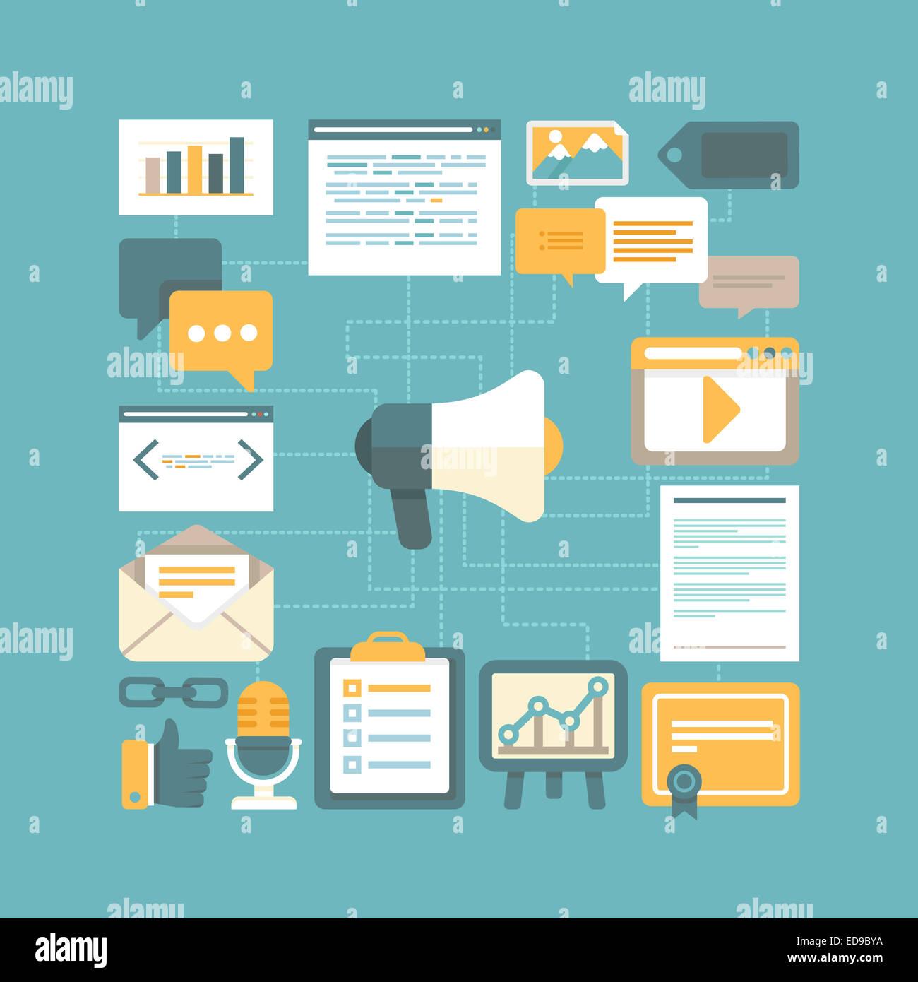 Contenuto il concetto di marketing in stile piatto - lavorare con i contenuti digitali e la pubblicità Immagini Stock