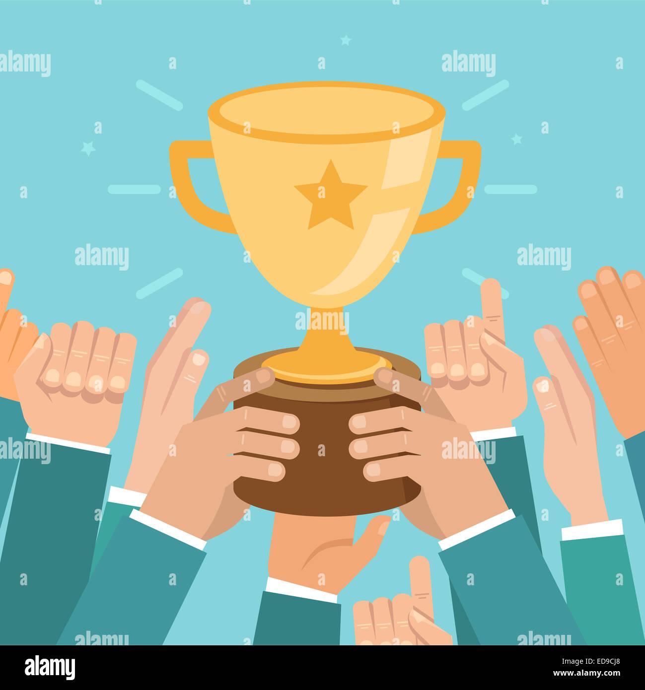 Vittoria del team concetto in stile appartamento - business illustrazione della concorrenza Immagini Stock