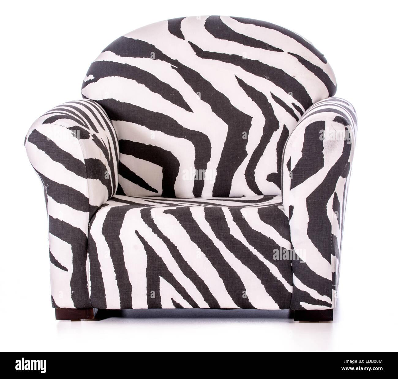 Stampa zebra poltrona isolati su sfondo bianco Immagini Stock