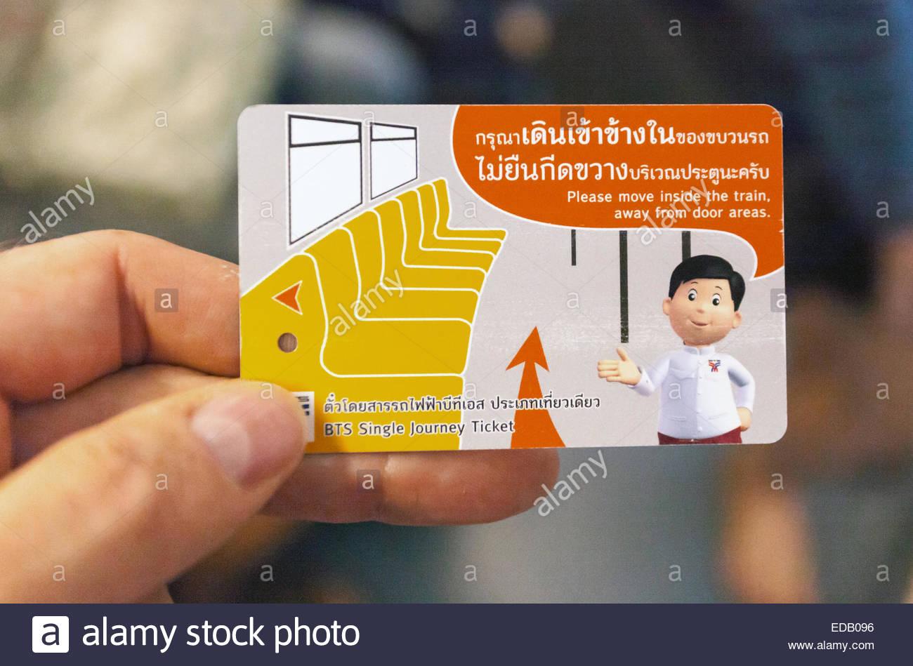 Bangkok di transito di massa singolo biglietto di viaggio Immagini Stock