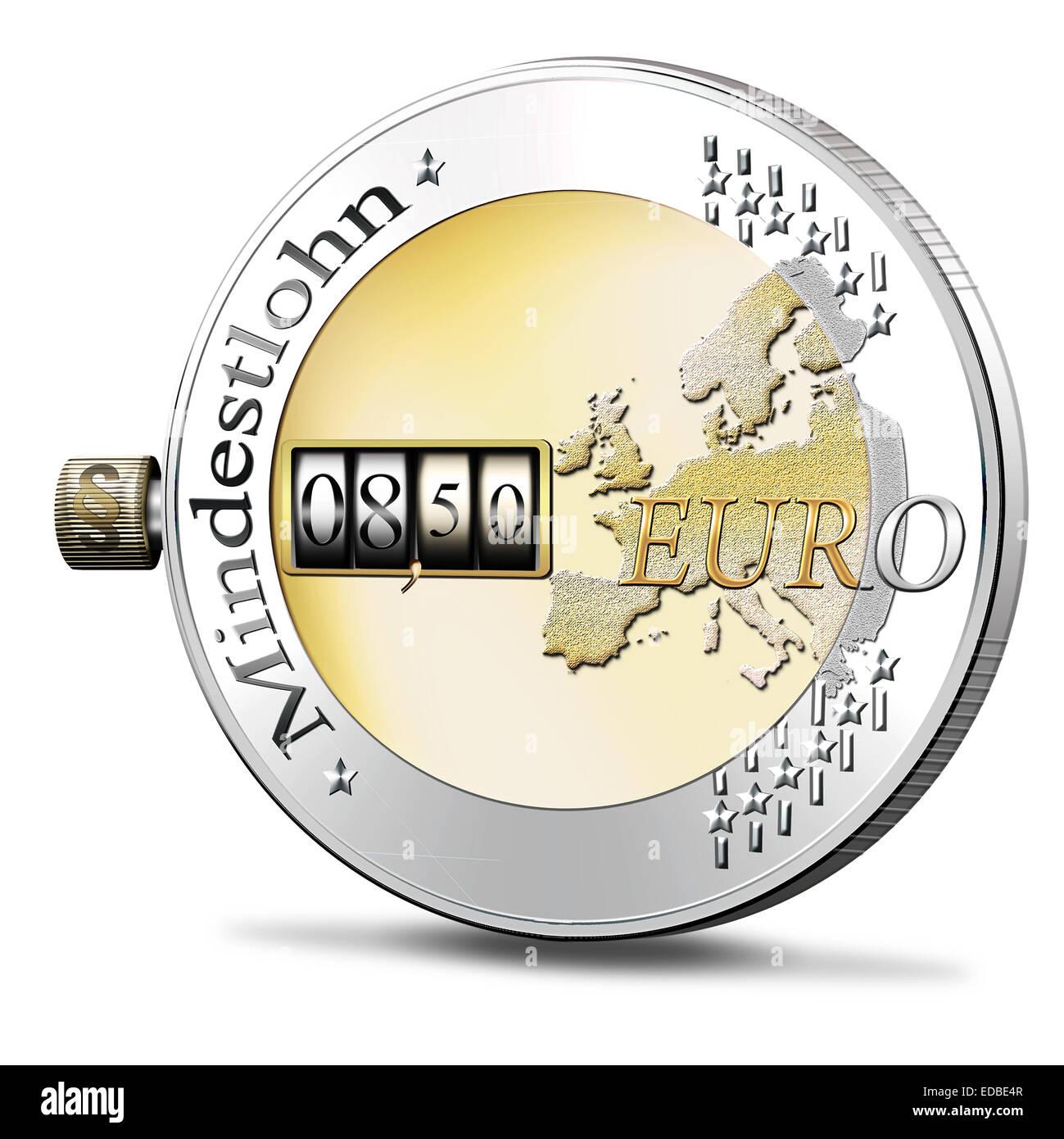 Moneta euro Mindestlohn di iscrizione o di salario minimo, illustrazione Immagini Stock