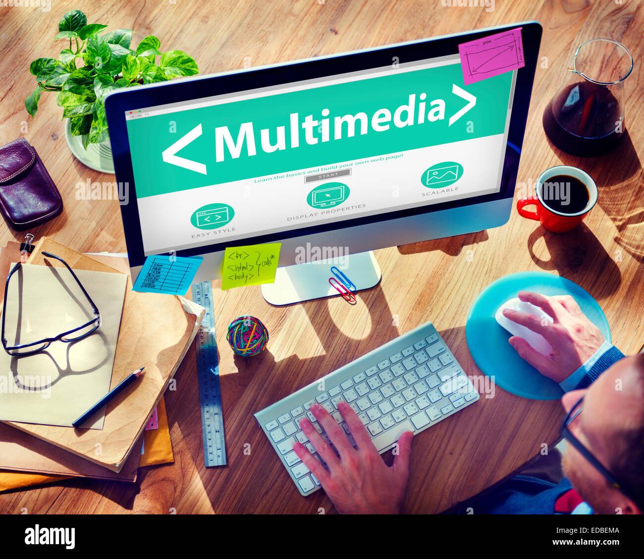 Digitale Multimediale online di Social Media Ufficio concetto di lavoro Immagini Stock