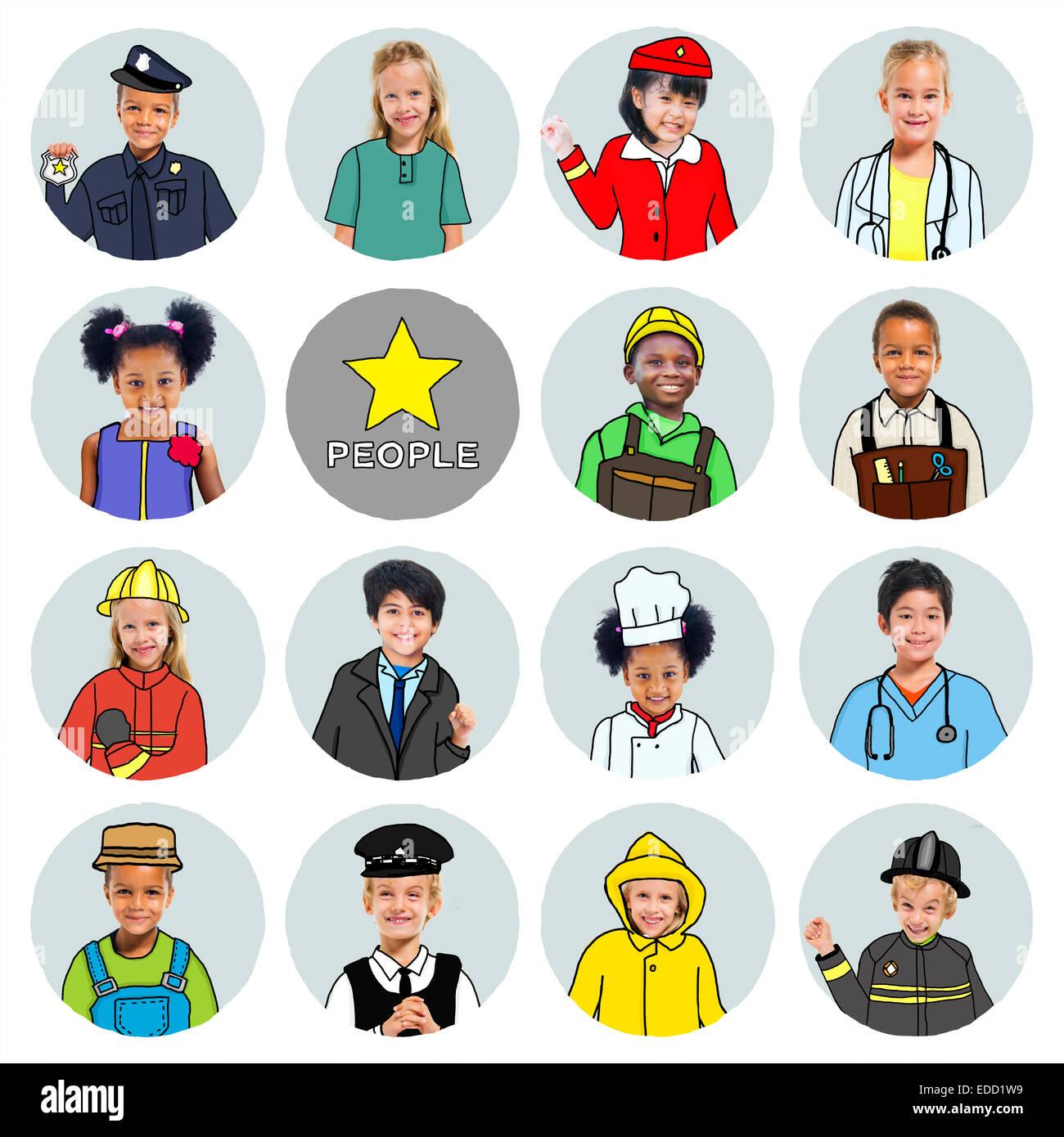 Gruppo multietnico di bambini con vari concetti di lavori Immagini Stock