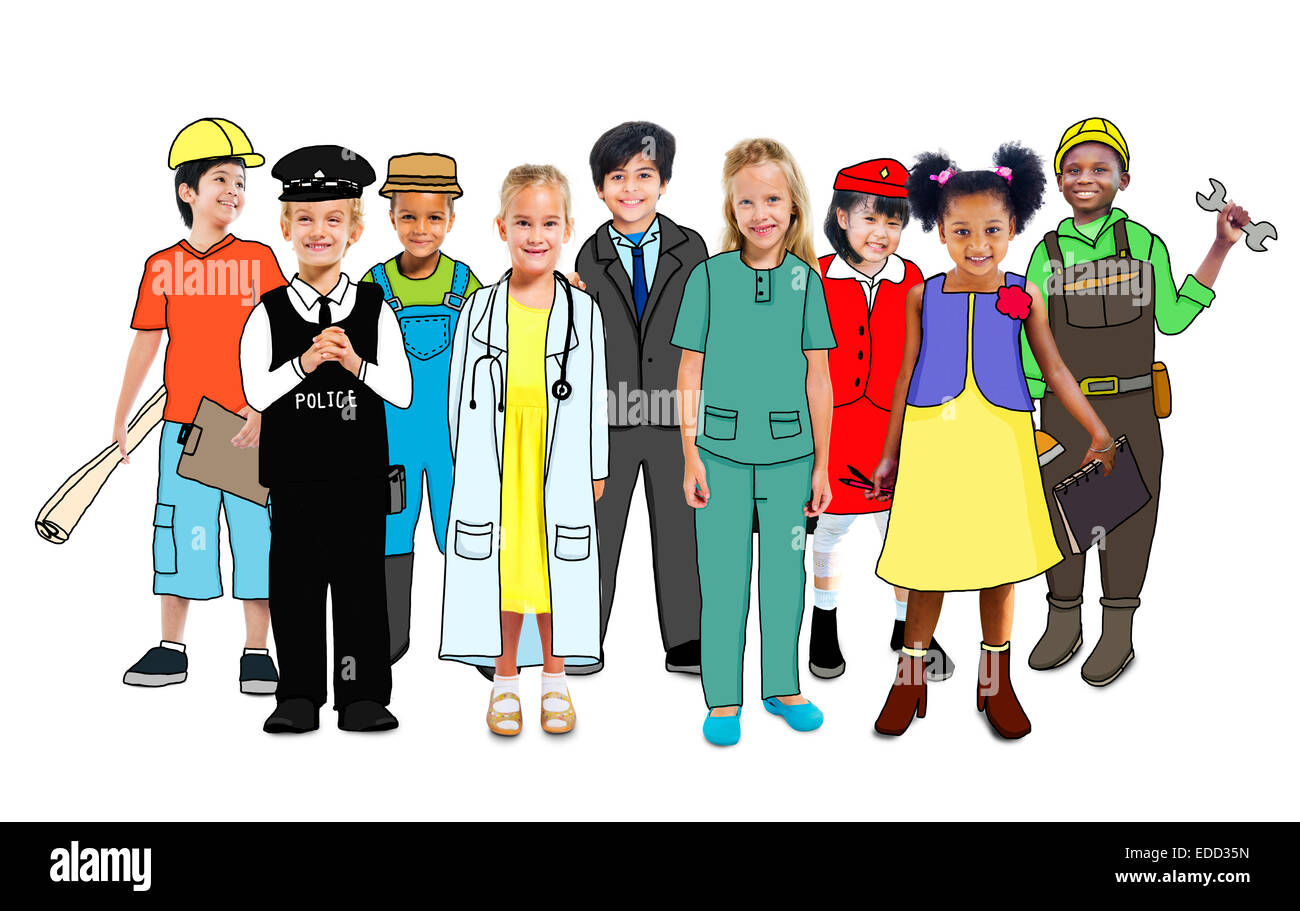 Gruppo multietnico di persone con diverse professioni di concetto Immagini Stock