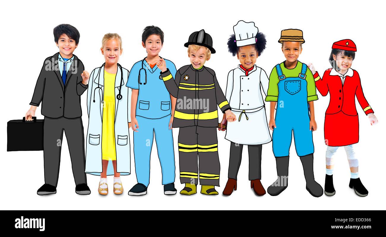 Gruppo multietnico di bambini con la futura carriera in foto e illustrazione Immagini Stock