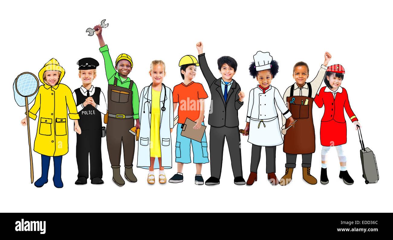 Gruppo multietnico di bambini con varie professioni di concetto Immagini Stock