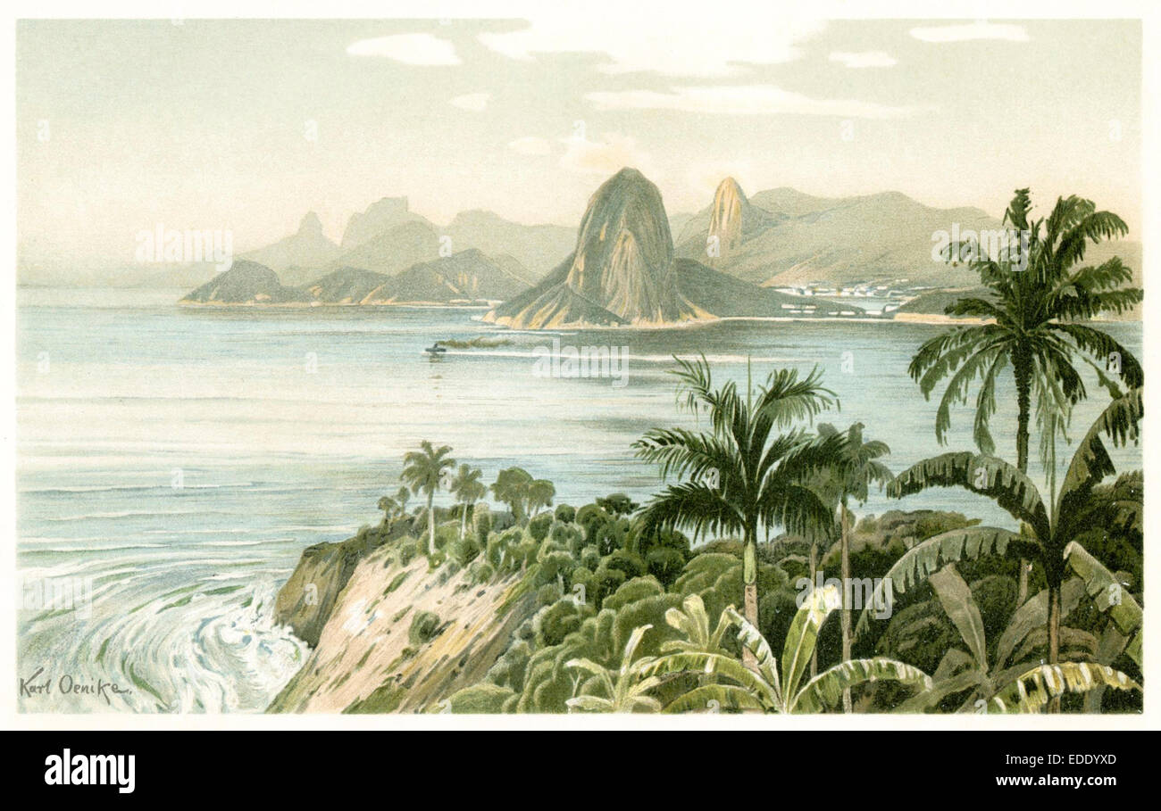 Bucht von Rio de Janeiro mit dem Zuckerhut Immagini Stock