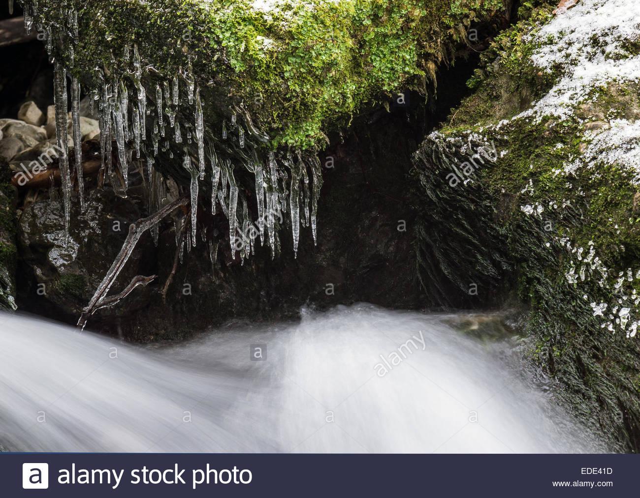 Whitewater in esecuzione sotto ghiaccioli Foto Stock