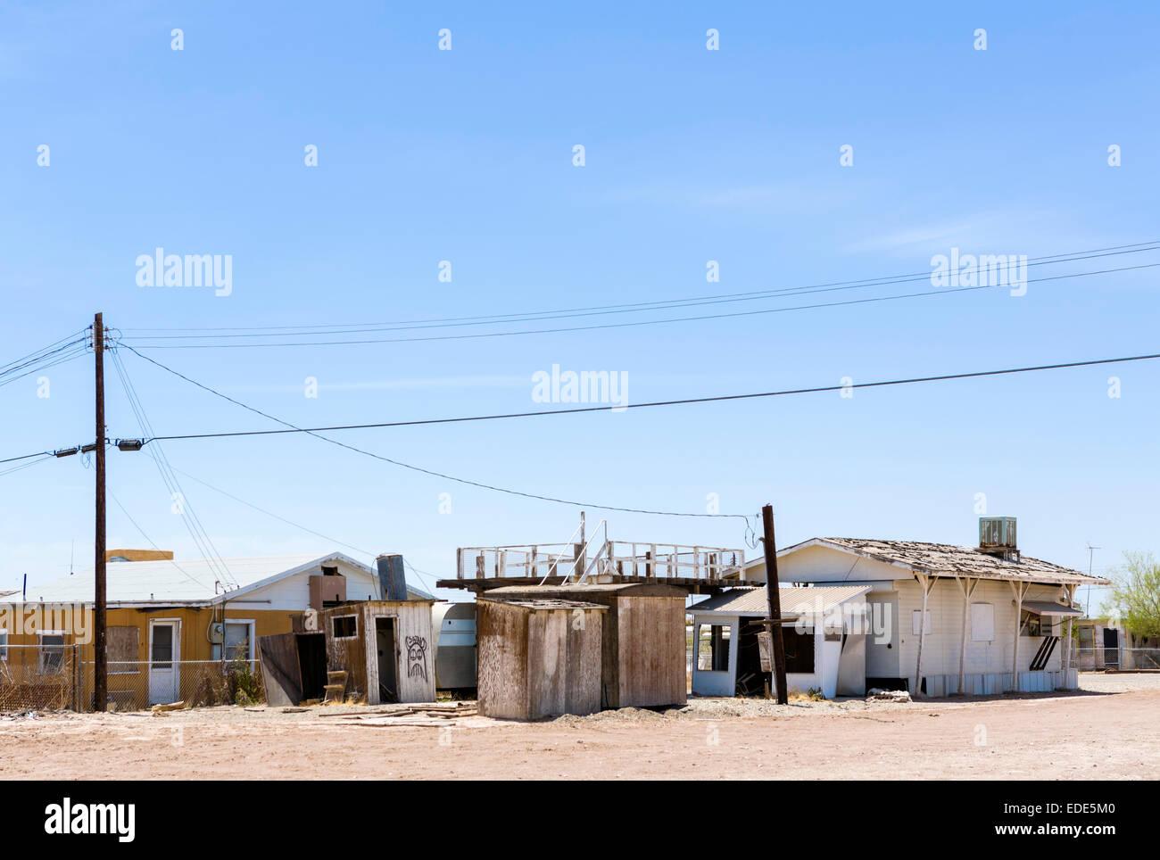 Case a Bombay Beach sul Salton Sea, Imperial County, California, Stati Uniti d'America Immagini Stock