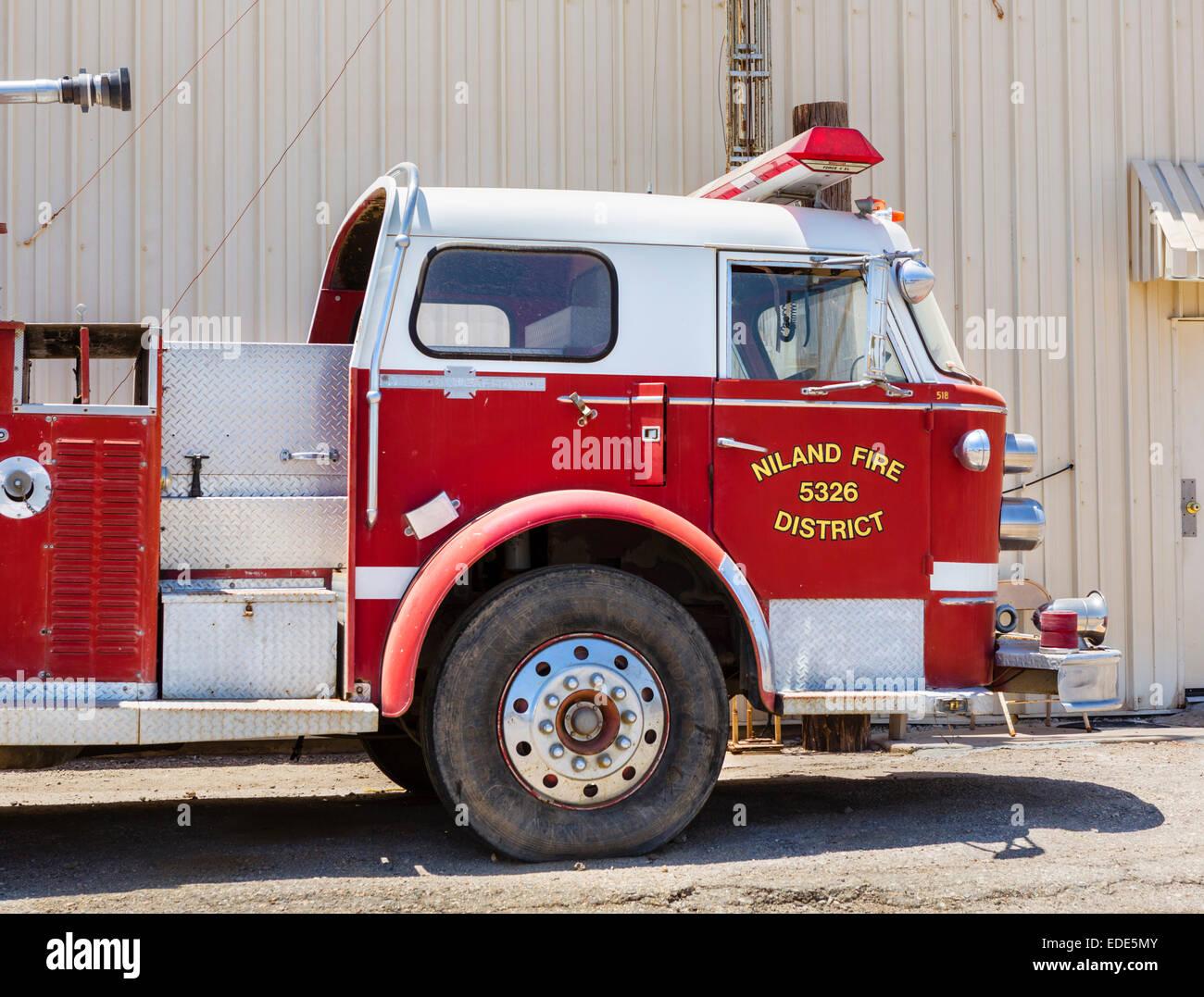 Camion dei pompieri a Bombay Beach sul Salton Sea, Imperial County, California, Stati Uniti d'America Immagini Stock