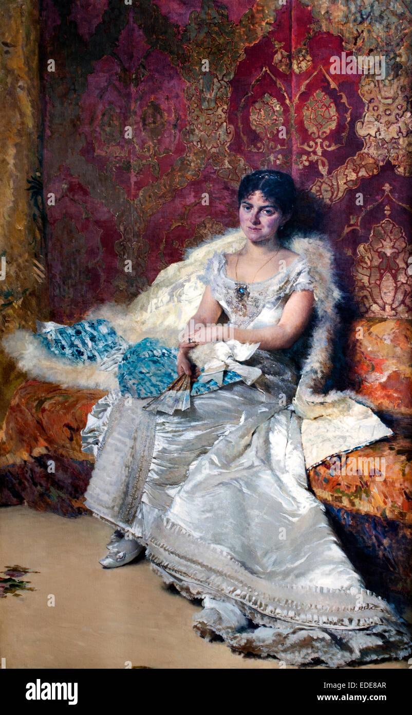 Ritratto di Teresa Maglione Oneto - Portret van Teresa Maglione Oneto Domenico Morelli ( 1823 - 1901) Italia Italiano Immagini Stock