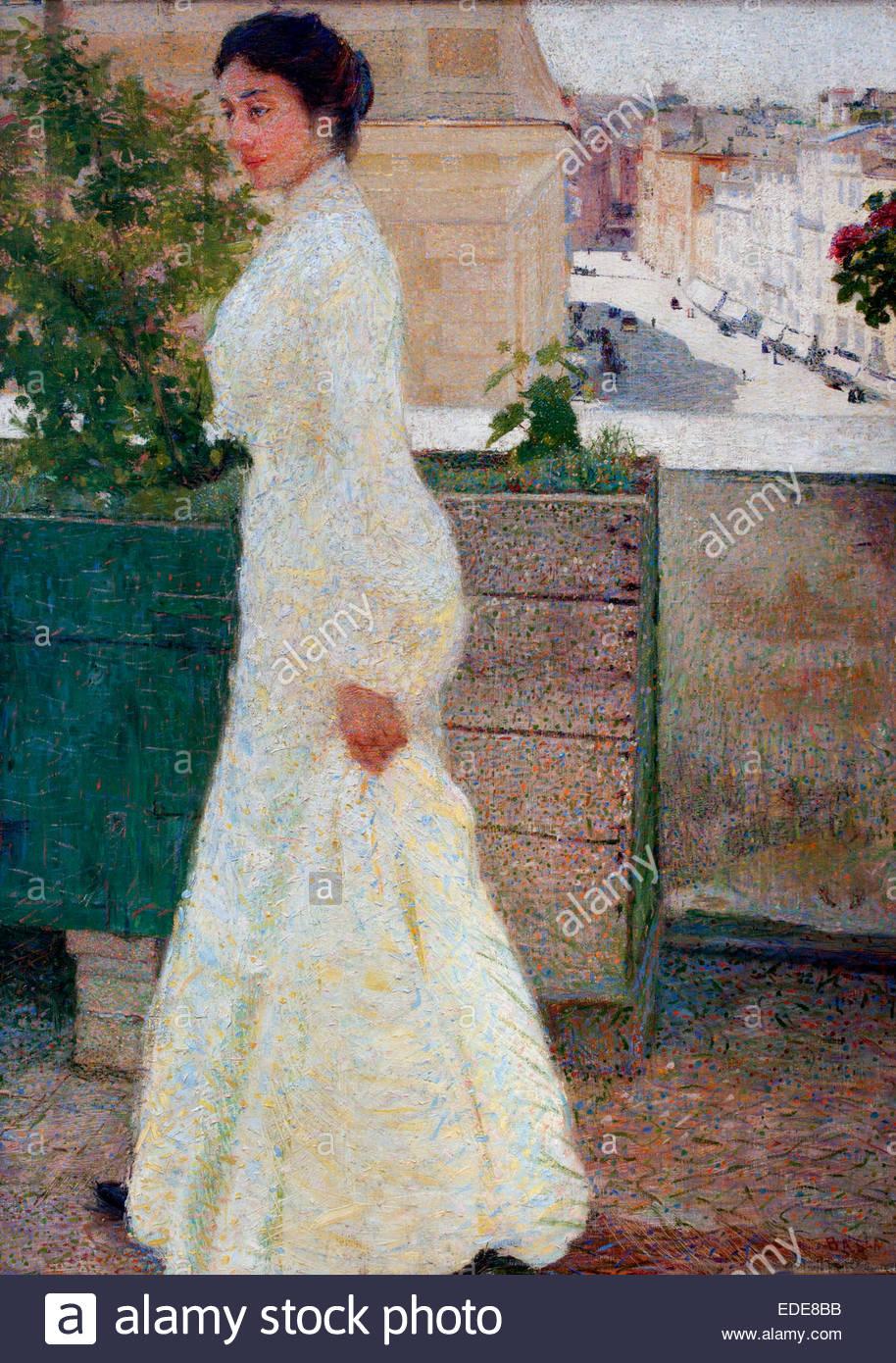 Ritratto all'aperto - outdoor portret 1902 Giacomo Balla, Italia, italiano. Immagini Stock