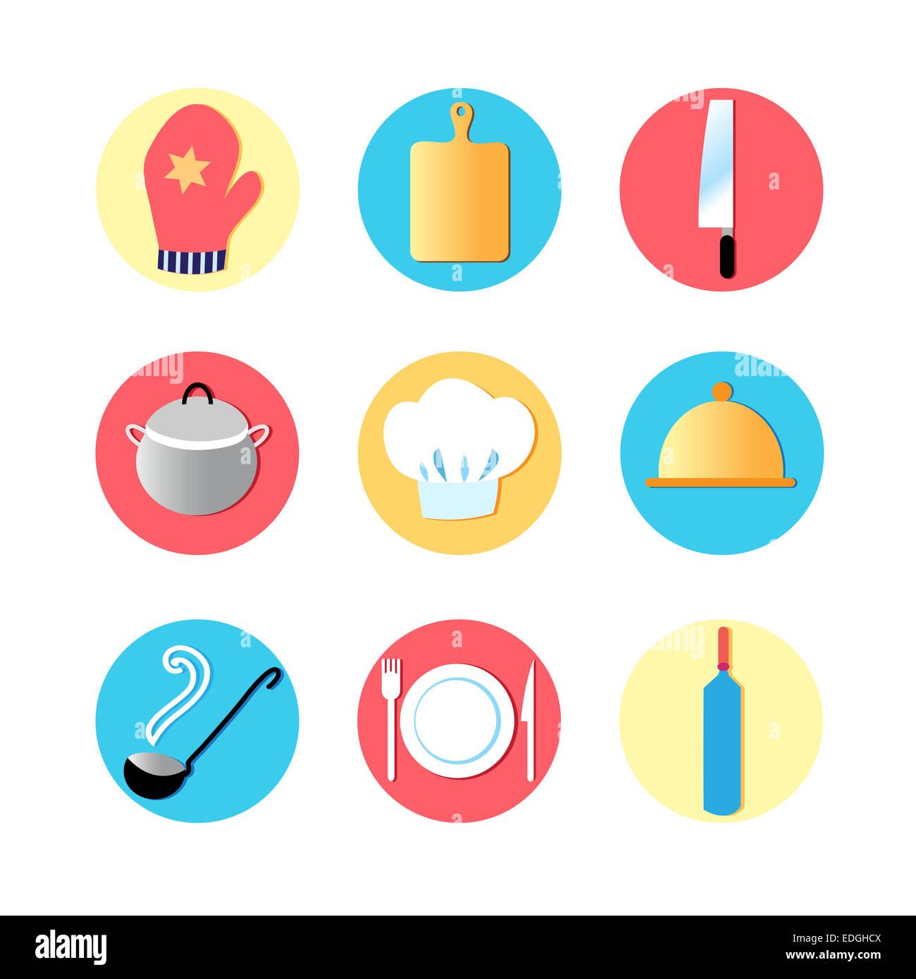 Utensili da cucina e piatti di cucina icone, utensili da cucina ...