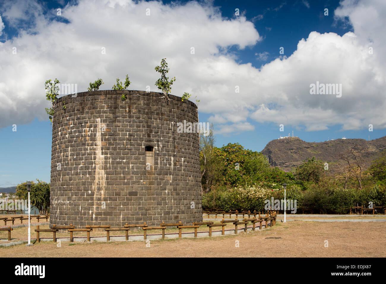 Maurizio, Port Louis, Pointe aux Sables, Martello Tower, C xix secolo secolo fortificazione navale Immagini Stock