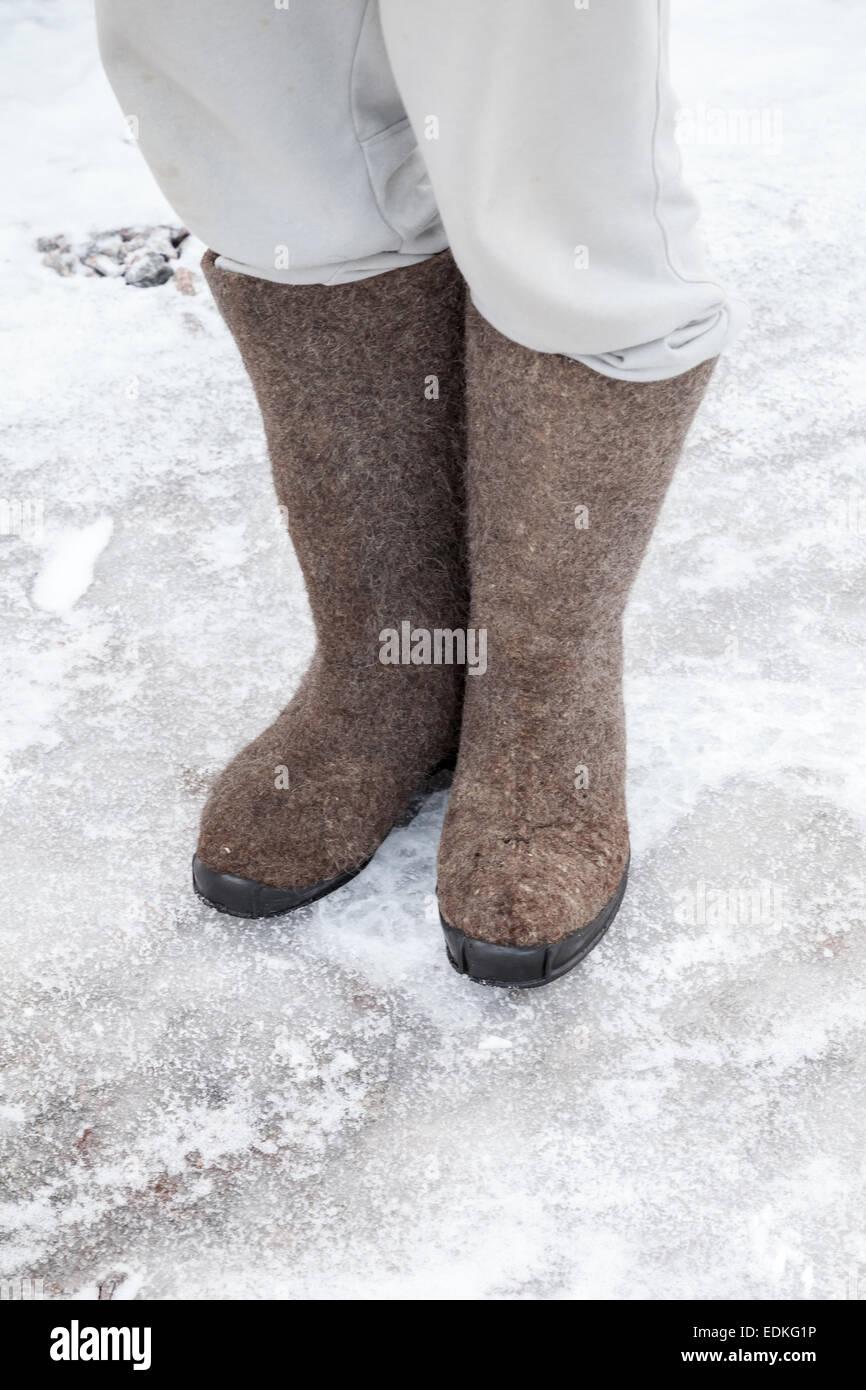 Stivali Tradizionali Russi Del Feltro Di Inverno Immagine