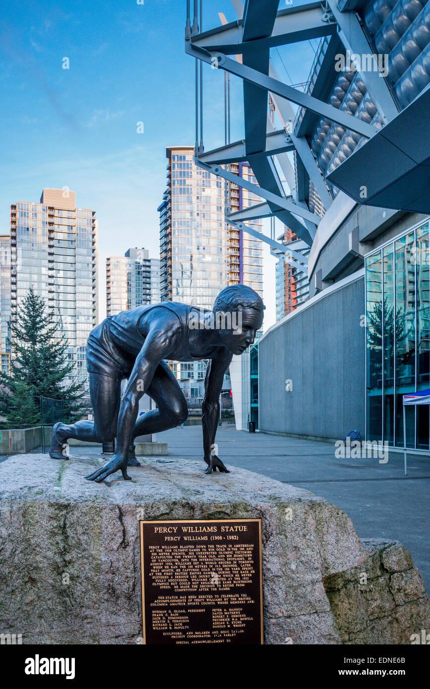 Statua di atleta Percy Williams, BC Place Stadium, Vancouver, British Columbia, Canada, Immagini Stock