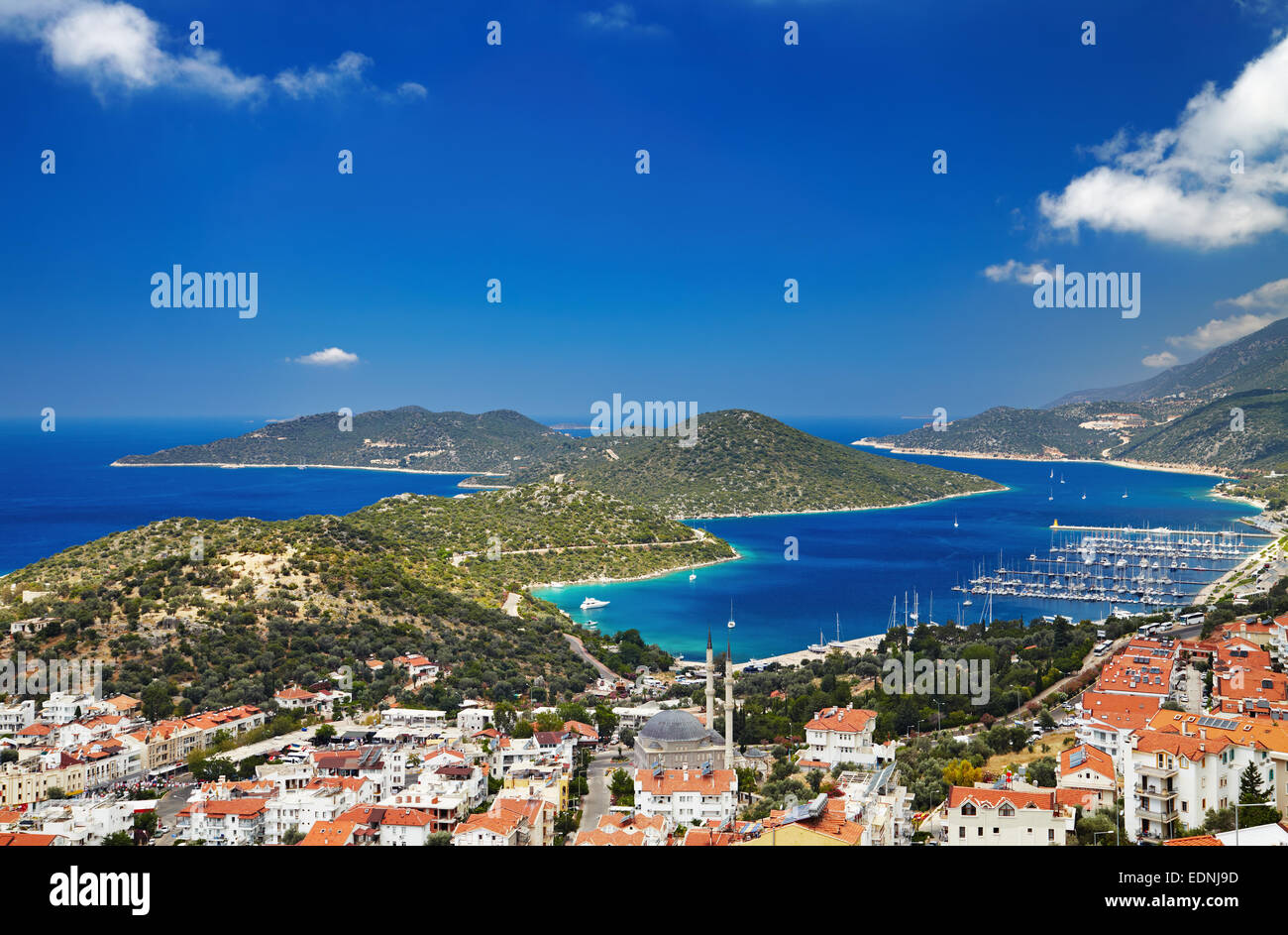 Città Kas, costa mediterranea, Turchia Immagini Stock
