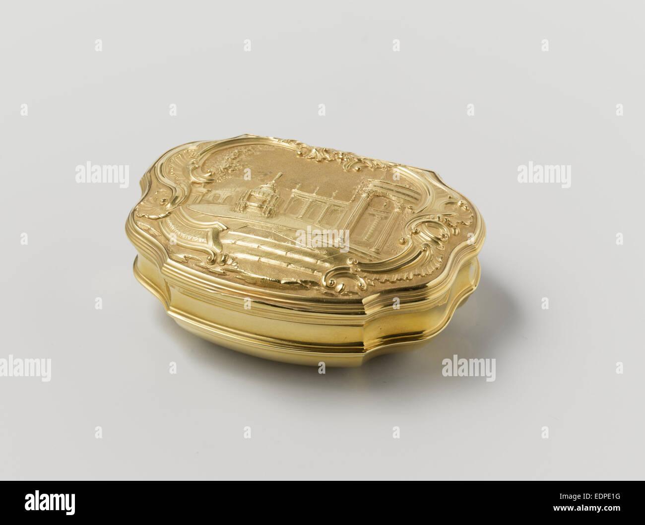 Il tabacco da fiuto scatola di oro, ornato con rappresentazione azionato da una fontana in un giardino, attribuita Immagini Stock