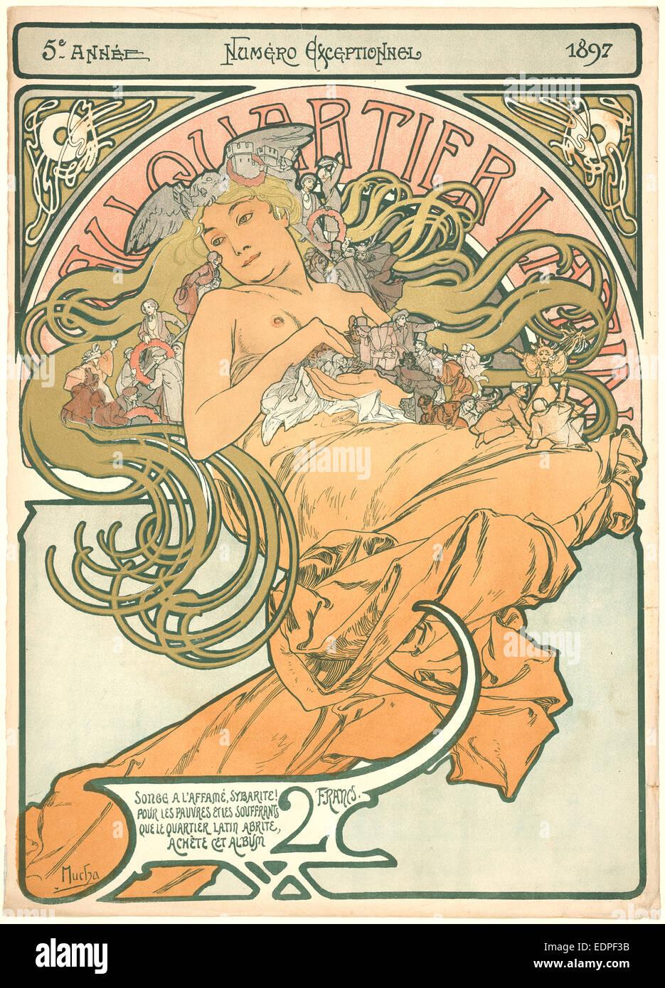 Alphonse Mucha (ceco, 1860 - 1939). Au Quartier Latin, 1897. Litografia a colori stampato in 6 colori su carta intessuta Immagini Stock