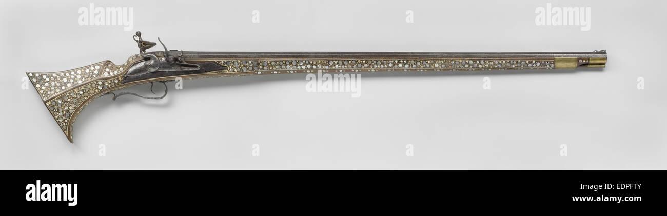 Matchlock moschetto con blocco di selce del periodo successivo, anonimo, Richard Bower, c. 1650 Immagini Stock
