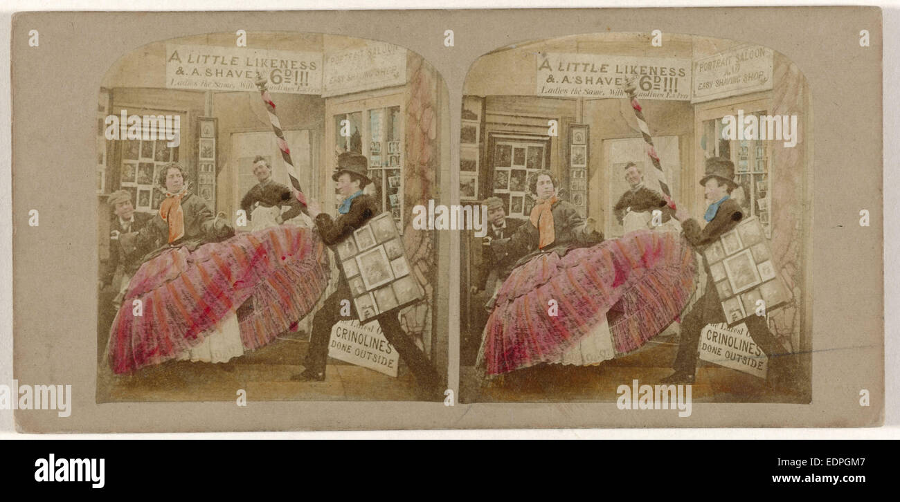 I pericoli e perplessità di crinolina, anonimo, 1861 Immagini Stock