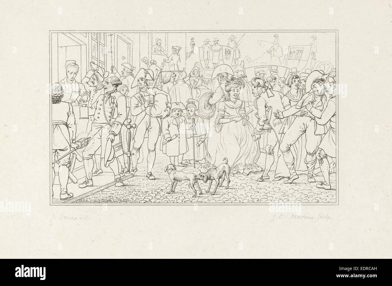 Molti cittadini in una strada, Jacob Ernst Marcus, 1807 Immagini Stock