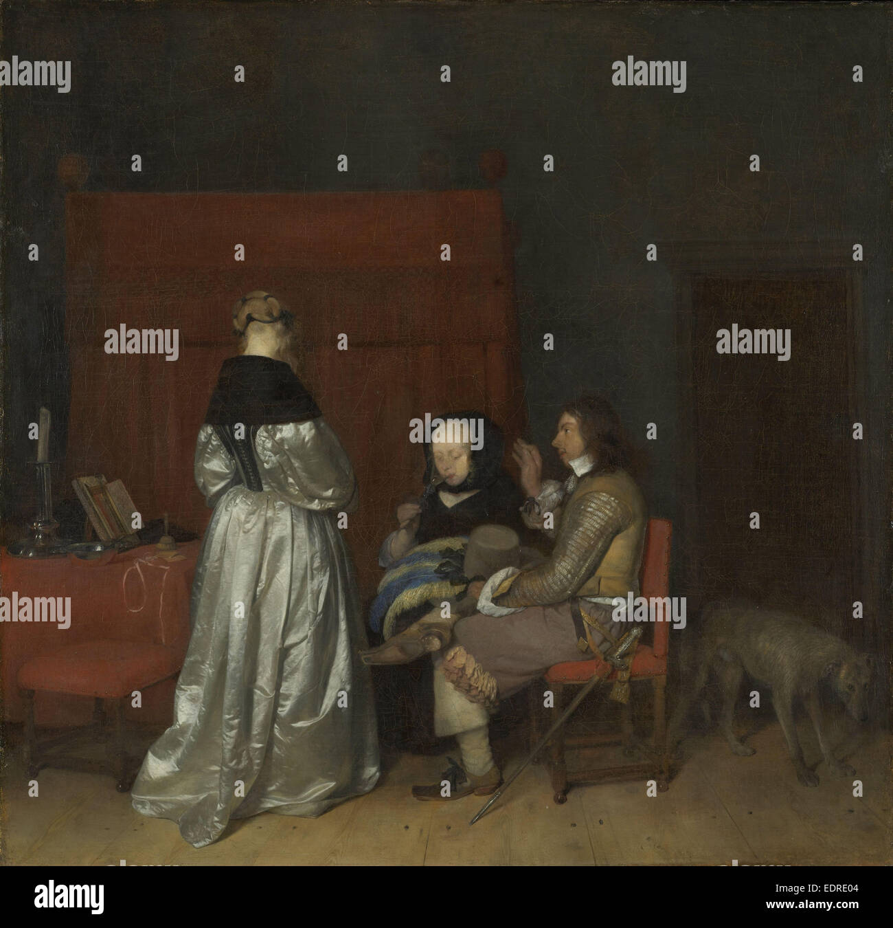 Conversazione galante, noto come 'la paterna ammonizione', Gerard ter Borch (II), c. 1654 Immagini Stock