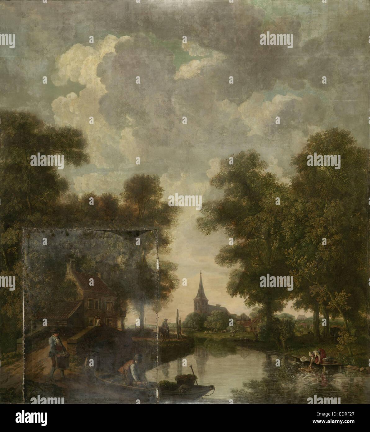 Carta da parati dipinta con un paesaggio olandese con il fiume, attribuito a Jurriaan Andriessen, c. 1776 Immagini Stock