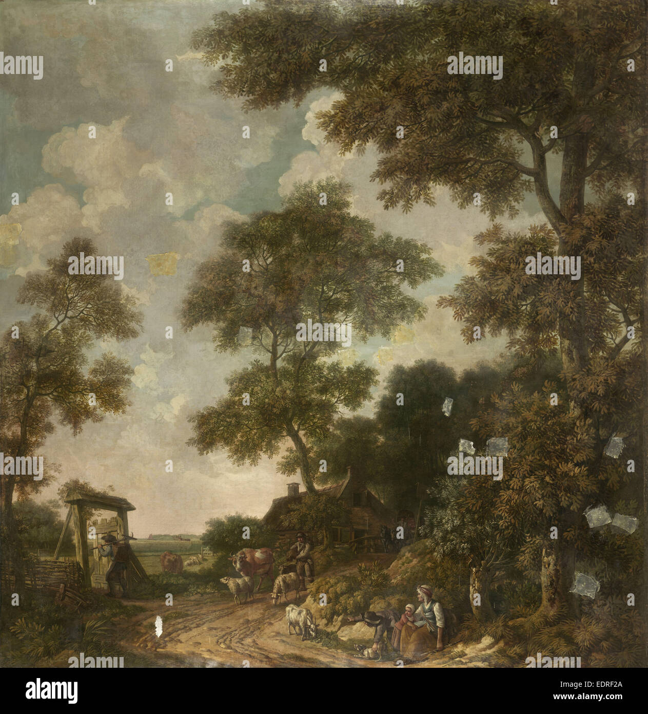 Carta da parati dipinte di un paesaggio olandese con una strada di sabbia, attribuito a Jurriaan Andriessen, c. Immagini Stock