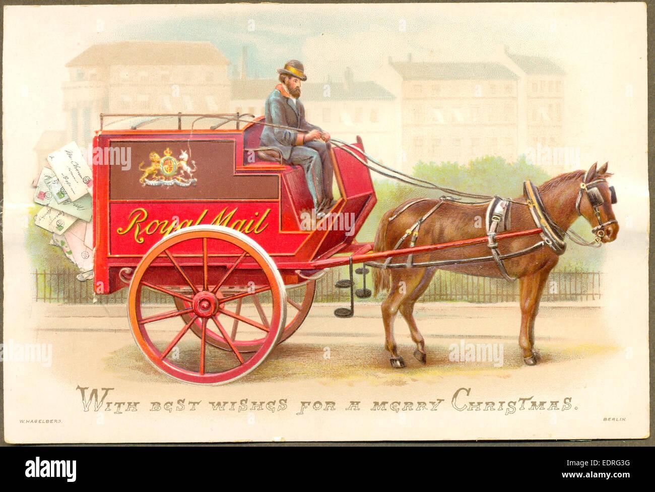 Biglietto d'auguri vittoriano chromolithographed Natale circa 1848 Foto Stock
