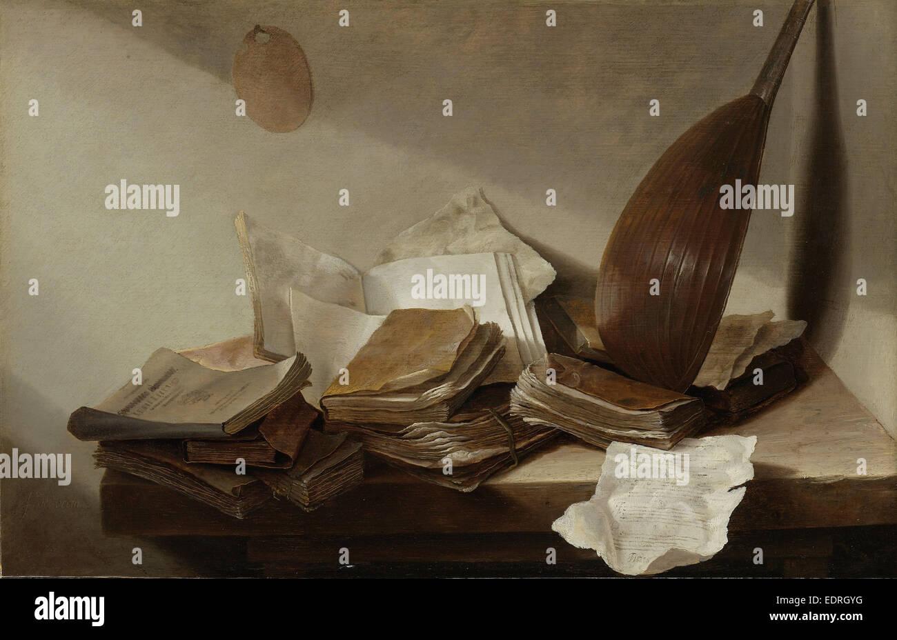 Natura morta con libri, Jan Davidsz de Heem, 1625 - 1630 Foto Stock