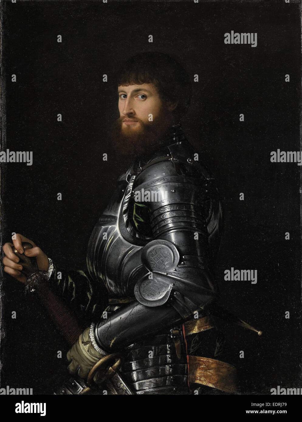 Ritratto di un nobile in armatura, anonimo, 1540 - 1560 Immagini Stock