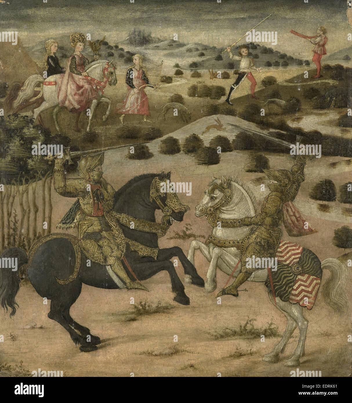 La leggenda di un cavaliere (pannello di estremità di un cassone), anonimo, 1450 - 1474 Immagini Stock