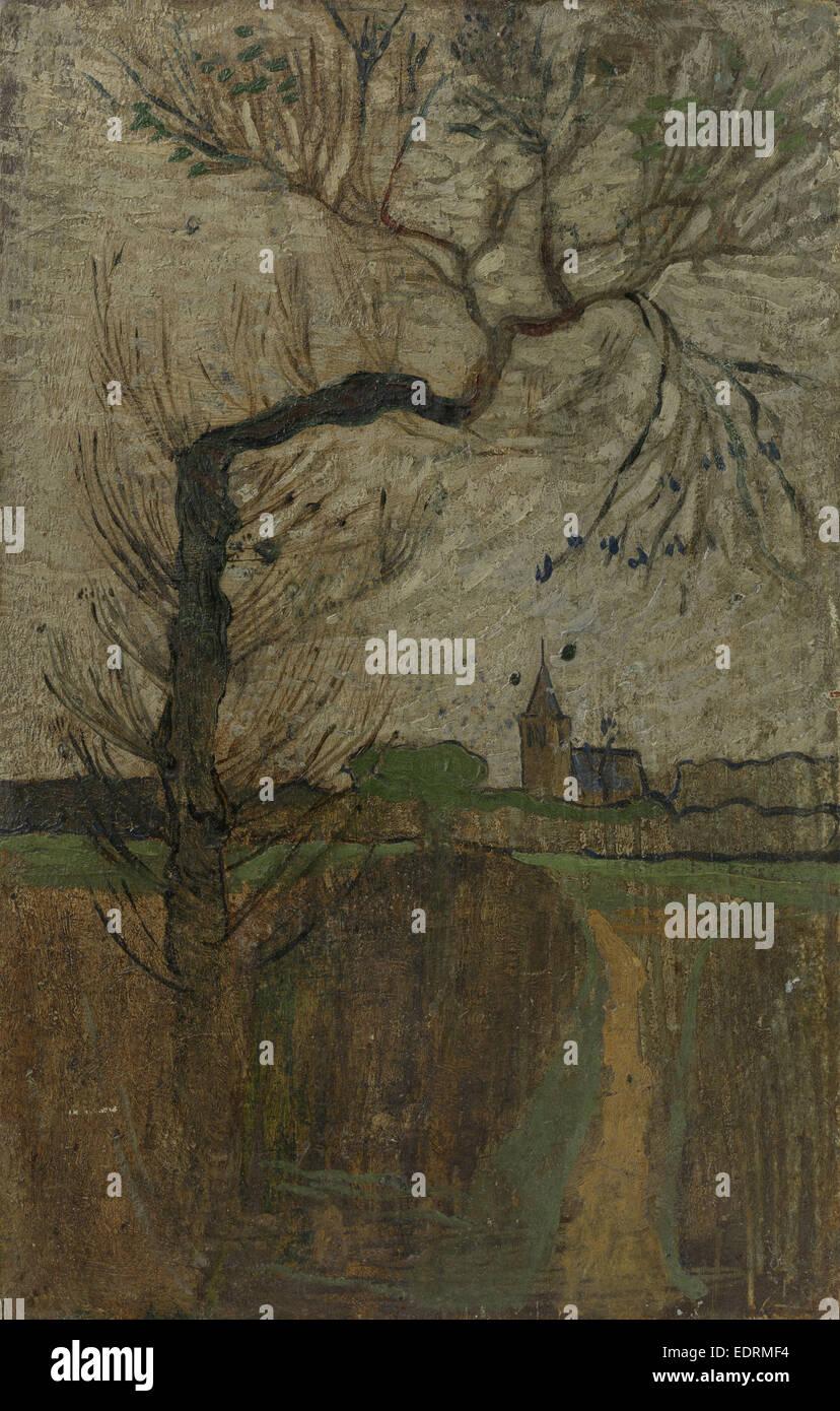 Sentiero con willow e villaggio sull'orizzonte 1891, Richard Roland Holst, 1891 Immagini Stock