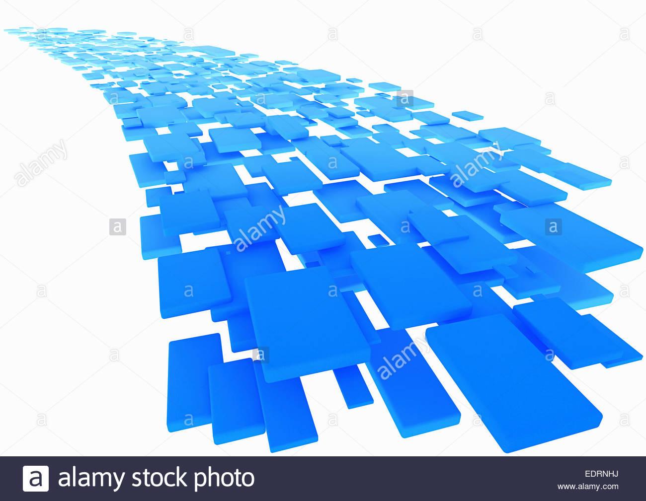 Abstract rettangoli blu che scorre su sfondo bianco Immagini Stock