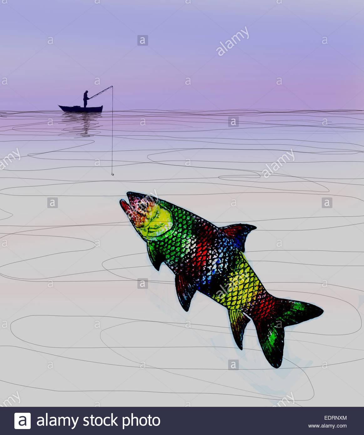 L'uomo cerca di catturare grandi pesci multicolori Immagini Stock