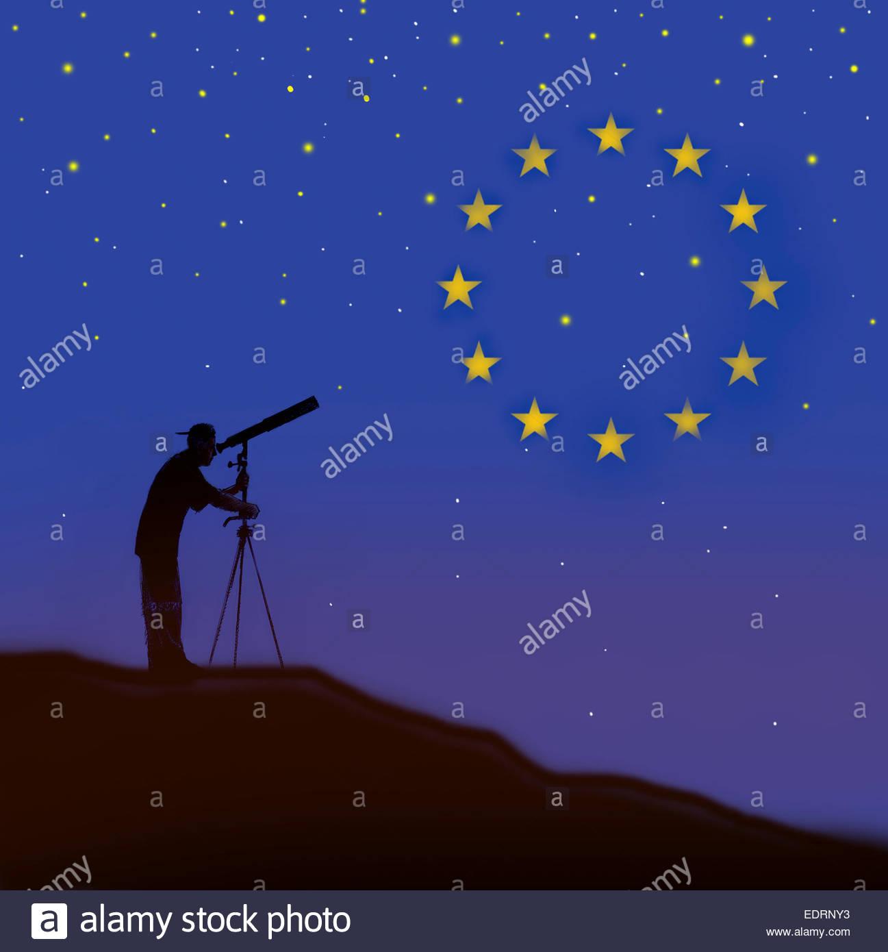 Uomo che guarda attraverso il telescopio guardando la bandiera dell'Unione europea constellation Immagini Stock