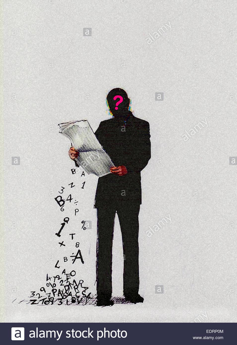 Confuso uomo quotidiano di lettura con le lettere e i numeri che rientrano Immagini Stock