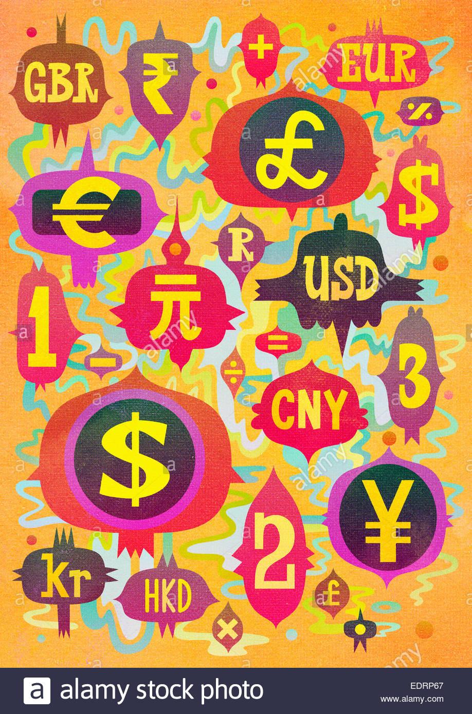 Configurazione astratta della moneta mondiale Simboli e abbreviazioni Immagini Stock