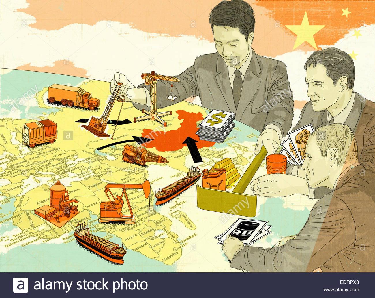 Cina dominando risorse naturali globali gioco Immagini Stock