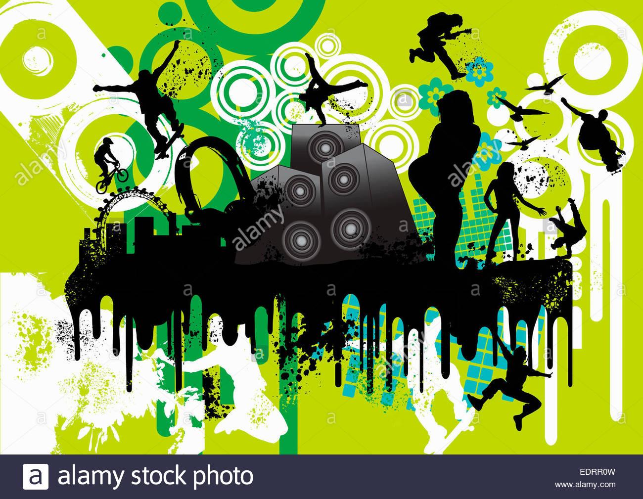 Montaggio di energici giovani godendo urban cultura giovanile, musica, skateboard e escursioni in bicicletta Immagini Stock