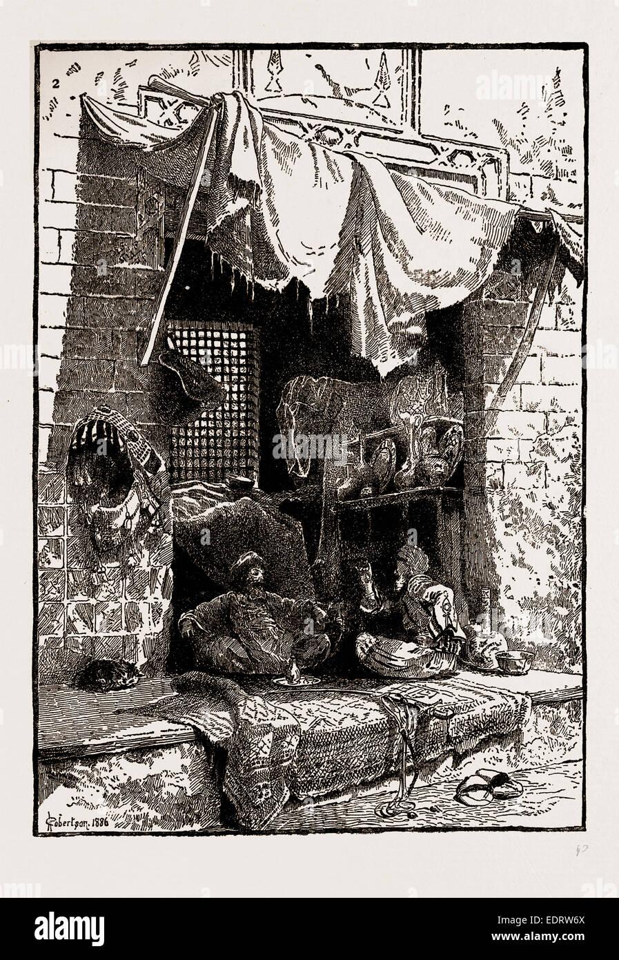 Le illustrazioni del catalogo del Regio istituto di pittori IN ACQUA COLORI, 1886: BAZAAR GOSSIP, da Charles Robertson Immagini Stock