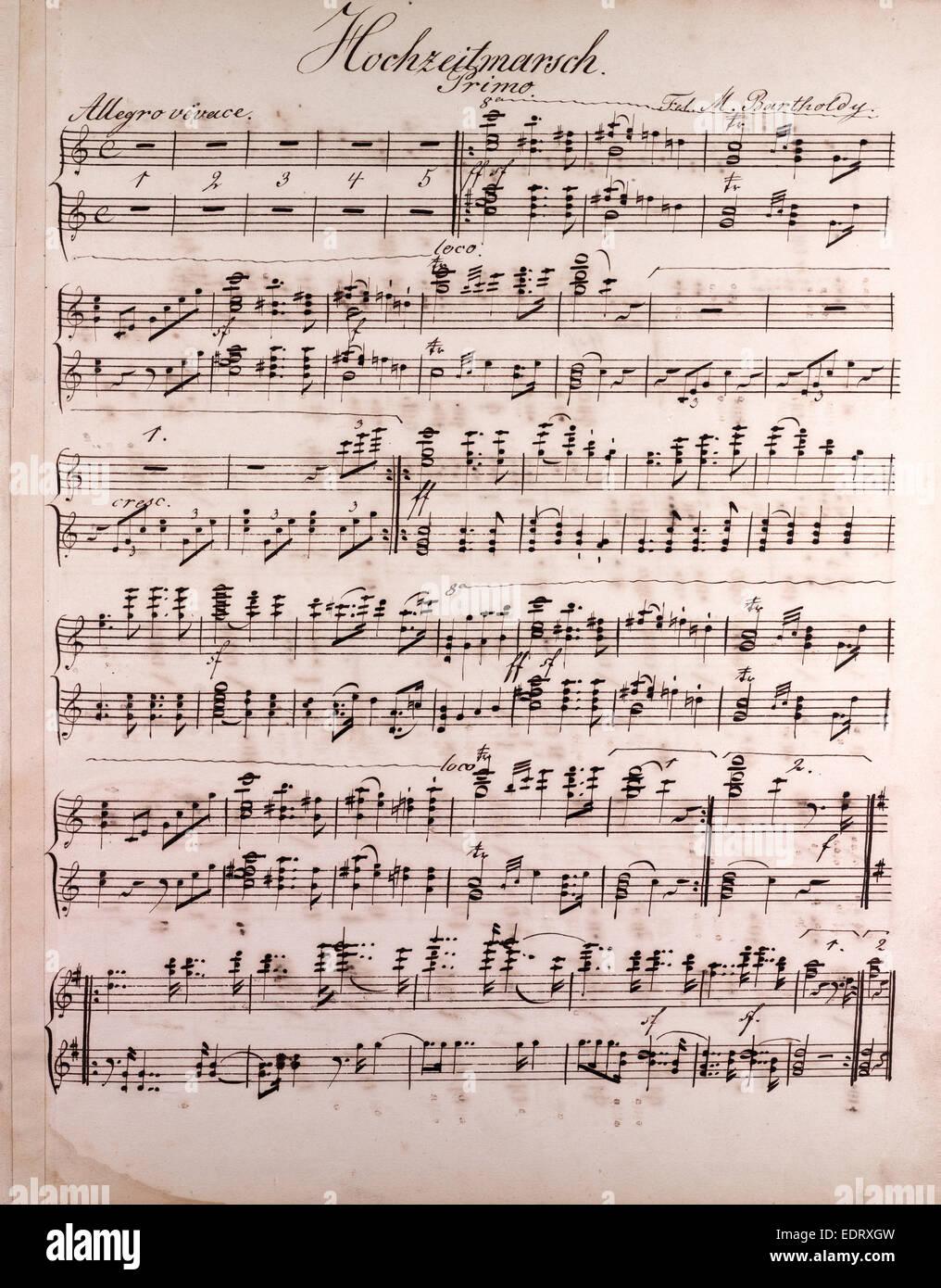 Fogli manoscritti di musica, note, del xix secolo, Hochzeitmarsch, allegro vivace Immagini Stock