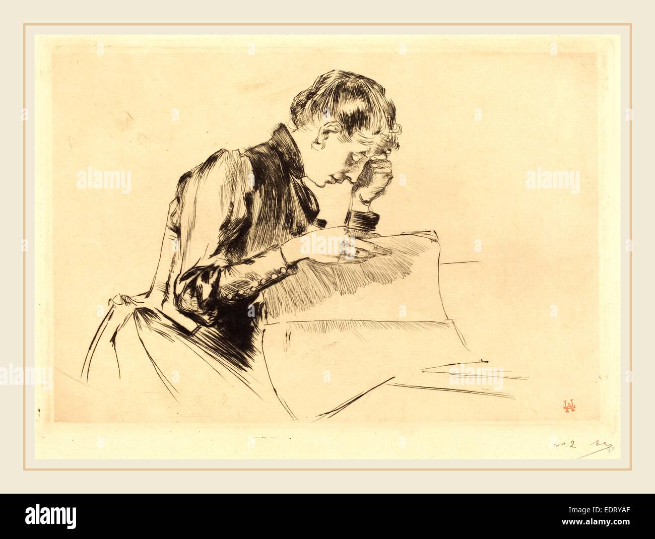 Auguste Lepère (Francese, 1849-1918), immagini (Les immagini), 1889, puntasecca Immagini Stock