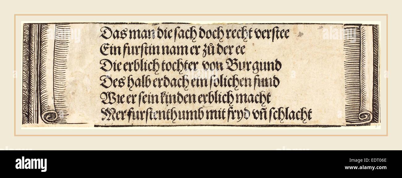 Albrecht Dürer (Tedesco, 1471-1528), il testo stampato per 'il fidanzamento di Massimiliano con Maria di Immagini Stock