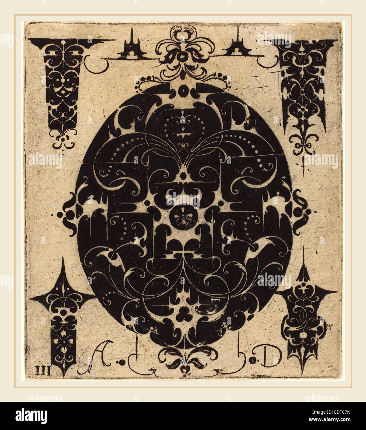 Annuncio Master (tedesco, attivo tardo XVI secolo), Ornamento, incisione Immagini Stock