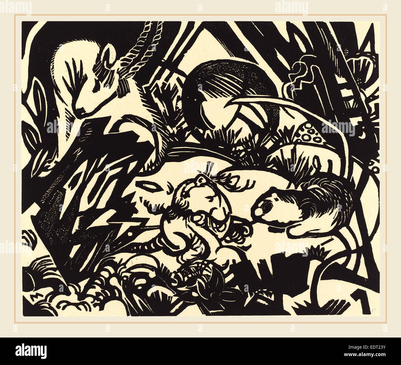 Franz Marc, animale legenda (Tierlegende), Tedesco, 1880-1916, 1912, xilografia Immagini Stock