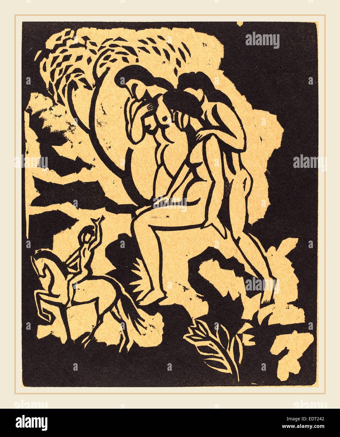August Macke, Begrüssung (saluto), Tedesco, 1887-1914, xilografia in nero su carta marrone chiaro Immagini Stock